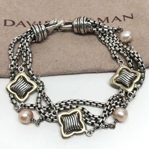 David Yurman Quatrefoil Pearl Bracelet 925/18K
